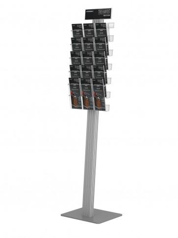 Stojak na ulotki , prezenter + 5 kieszeni A4 poziomo , stelaż ukośny ( ulotki A4 A5 i DL ) + toper DL  Art 276