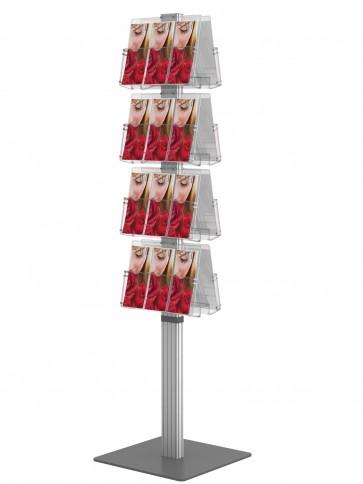 Dwustronny obrotowy stojak na ulotki 8 kieszeni A4 poziomo ( ulotki A4 A5 i DL ) ___kolor:Deep Grey Art 3088