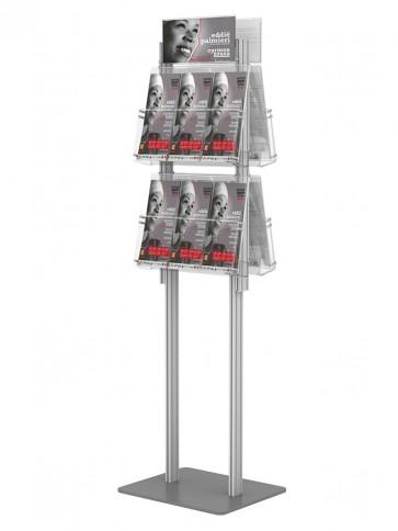 Składany stojak na ulotki dwustronny - 4 kieszenie A4 wpoziomie. Art 425D