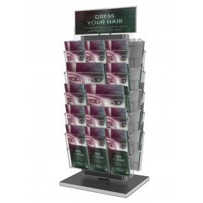 Obrotowy stojak na ulotki 10 kieszeni A4 poziomo (A4 A5 i DL ) + toper  Art 3081 Grafitowy