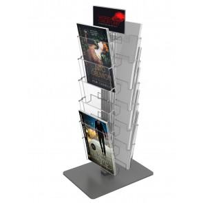 Obrotowy dwustronny stojak na ulotki 8 kieszeni A4 pionowo  Art 3086 v2B Grafit