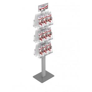 Dwustronny składany stojak na ulotki  6 kieszeni A4 poziomo ( ulotki A4 A5 i DL ) + toper Art 428A