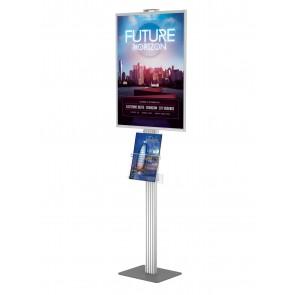 Składany stojak / prezenter plakatu B2 na statywie + kieszeń na ulotki A4 pionowo  Art 511 v2
