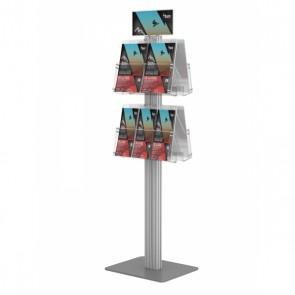 Prezenter / ekspozytor / stojak dwustronny na ulotki 4 kieszenie A4 poziomo ( ulotki A4 A5 i DL ) + Toper  Art 836