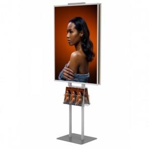 Składany stojak dwustronny / prezenter / stand na plakat 2x B1 na statywie + 2x kieszeń A4 uniwersalna na ulotki A4 A5 i DL  Art.512 V2