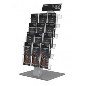 Stojak prezenter na ulotki A4 , A5 i DL , 4 kieszenie A4 poziomo + toper DL Art 837