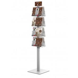 Dwustronny obrotowy stojak na ulotki 8 kieszeni A4 poziomo ( ulotki A4,A5 i DL )  Art 3088 Biały