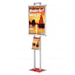 Składany stojak / prezenter plakatu B2 na statywie + kieszeń na ulotki A4 pionowo art 511