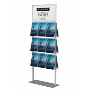 Prezenter ulotek / stand / stojak na plakat + 18xA4 pionowo. Art 024