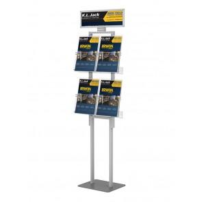 Składany stojak na ulotki 4 kieszenie A4 pionowo+toper  art 288v1