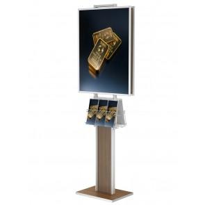 Stojak / prezenter składany dwustronny na plakat B2 na statywie + 2 kieszenie A4 poziomo na ulotki A4,A5 i DL  Art 372 Drewno