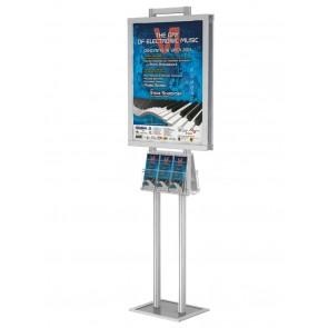 Stojak / prezenter składany dwustronny na plakat B2 na statywie +2 kieszenie A4 poziomo na ulotki A4,A5 i DL Art 372