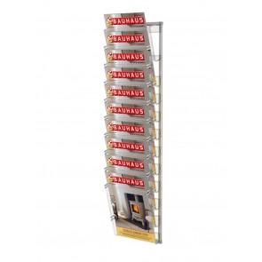 Prezenter na ulotki , zestaw 10 kieszeni A4 pionowo na ścianę   Art 219